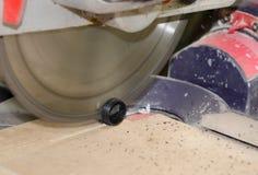 Circular Saw cuts detail, carpentry. Electric hand tools royalty free stock photos