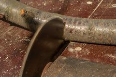 Circular saw cuts wood Royalty Free Stock Image