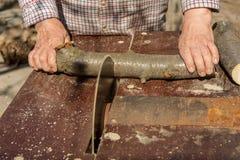 Circular saw cuts wood Stock Photography