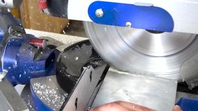 Circular saw cutting metal