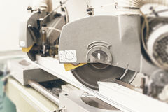 Free Circular Saw Cutting PVC Profile Close Up. Plastic Window And Do Royalty Free Stock Photography - 81607867