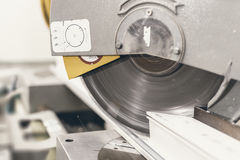 Free Circular Saw Cutting PVC Profile Close Up. Plastic Window And Do Stock Photos - 81637923