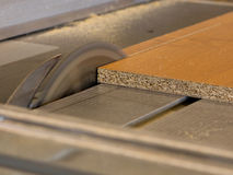 Circular saw cutting wood board Royalty Free Stock Image