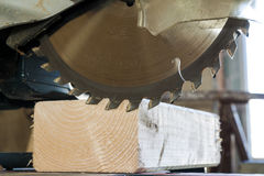 Circular saw cutting wooden plank. Blade with board close-up. Wo. Odworking detail with wood. Working equipment carpentry workshop Stock Images