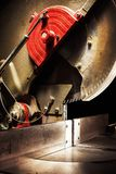 Circular Saw Details. Used circular saw on black background, closeup of details Royalty Free Stock Images