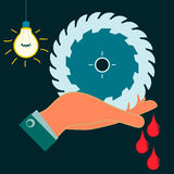 Circular saw in his hand, drops of blood. The wound is in a dark room with light bulb. Industrial security, occupational accident vector illustration
