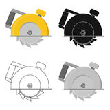 Circular saw icon in cartoon style isolated on white background. Build and repair symbol stock vector illustration. Stock Photography