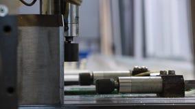 Circular saw. Industrial automatic circular saw. saw at work stock video footage