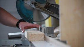 Circular saw. Industrial hand circular saw. saw at work stock footage