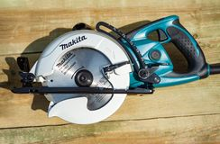 Minsk, Belarus, august 20, 2017: A circular saw Makita 5477NB. Makita Corporation founded on March 21, 1915, it is based in Japan. royalty free stock photography