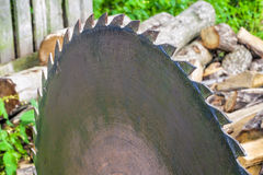 Circular saw at outdoors with the wood around Royalty Free Stock Photos