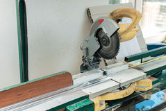 Circular Saw for PVC Windows and Doors Manufacturing Stock Photography