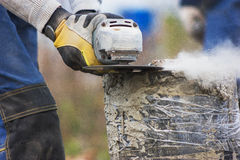 Circular saw - sawdust flying around Stock Images
