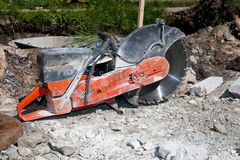Circular saw for stone. Concrete cutter on a street stock photo