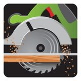 Circular saw vector icon at work with wood dust. Circular saw vector icon in action, cutting wood with wood dust stock illustration