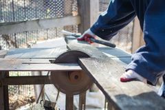 Circular saw for wood processing. royalty free stock photography