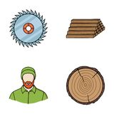 Circular saw, a working carpenter, a stack of logs. A sawmill and timber set collection icons in cartoon style vector Stock Photos