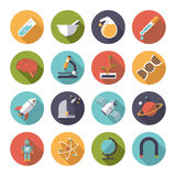Circular science and research icons vector set. Collection of 16 flat design science and research themed vector icons in circles Stock Image