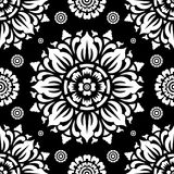 Circular Seamless Black and White Pattern on Black Background royalty free illustration
