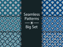 Circular seamless pattern of colored labyrinth, BIG SET, flat.  Royalty Free Stock Images