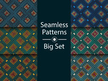 Circular seamless pattern of colored labyrinth, BIG SET, flat. Royalty Free Stock Photography