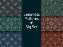 Circular seamless pattern of colored labyrinth, BIG SET, flat. Royalty Free Stock Photo