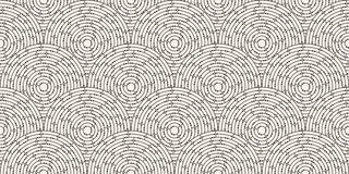 Circular seamless pattern of colored labyrinth with dots, flat. Royalty Free Stock Photography