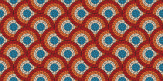 Circular seamless pattern of colored labyrinth with dots, flat Royalty Free Stock Photography