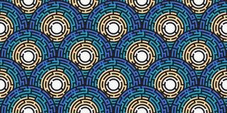 Circular seamless pattern of colored labyrinth. Flat Royalty Free Stock Image