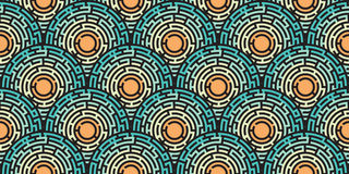 Circular seamless pattern of colored labyrinth. Flat Stock Photos