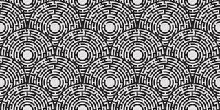 Circular seamless pattern of colored labyrinth. Flat Stock Photography