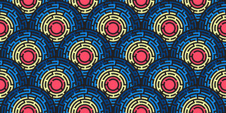 Circular seamless pattern of colored labyrinth. Flat Royalty Free Stock Photos
