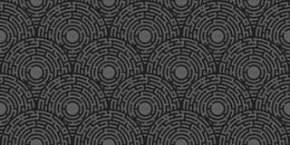 Circular seamless pattern of colored labyrinth. Flat vector illustration