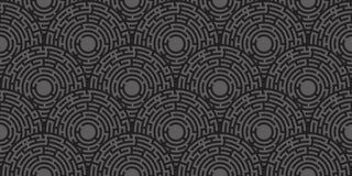 Circular seamless pattern of colored labyrinth. Flat Royalty Free Stock Photo