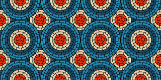 Circular seamless pattern of colored labyrinth, flat.  Royalty Free Stock Photos