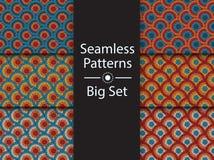Circular seamless pattern of colored labyrinth, vector, BIG SET, flat. Circular seamless pattern of colored labyrinth, BIG SET, flat Stock Images