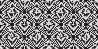 Circular seamless pattern of white labyrinth on black. Flat Royalty Free Stock Photos