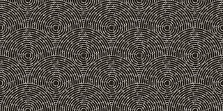 Circular seamless pattern of white labyrinth with dots on black background, flat. Royalty Free Stock Photo
