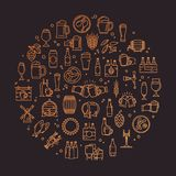A circular set of craft beer pixel-perfect icons in a modern style on the theme of beer. stock illustration