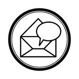 circular shape with blank paper envelopes opened with dialog box Stock Images