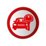 Circular shape car and key Royalty Free Stock Photography