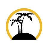 Circular shape silhouette beach with palm and island Stock Image