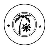 Circular shape silhouette palm and sun Stock Images
