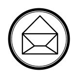 circular shape with silhouette paper envelope opened icon Royalty Free Stock Photos