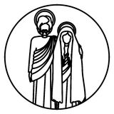 Circular shape with silhouette virgin mary and saint joseph embraced Stock Photography
