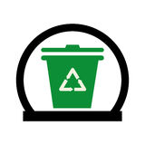 Circular shape with trash container with recycle logo Royalty Free Stock Photos