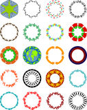 Circular shapes with objects. Lots of circular shapes using objects eg;people,butterflies,flowers,map,abstrcat,buildings,animalsetc Royalty Free Stock Photos