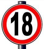 18 Circular Sign Over A white BAckground. A large round red traffic sign displaying 18 over white Stock Photo