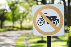 Circular signs prohibit motorcycles from entering this road. Concept protect people for danger Royalty Free Stock Photos