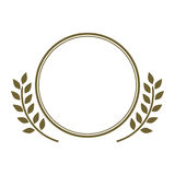 Circular silhouette heraldic decorative frame with leaves Royalty Free Stock Photos